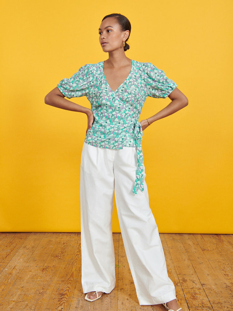 FSC Viscose Mint Ditsy Floral Puff Sleeve Wrap Top