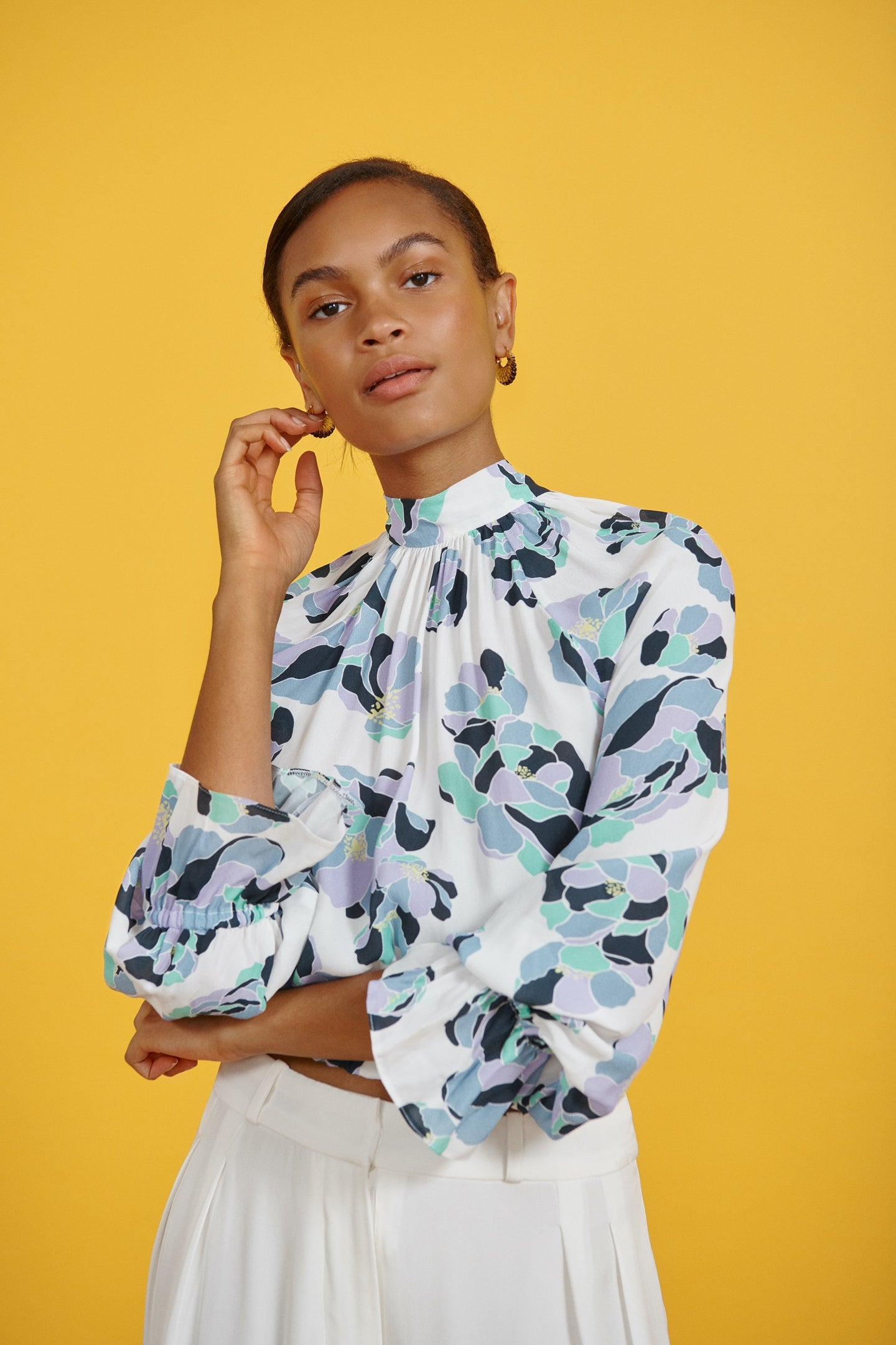FSC Viscose Graphic Floral Print High Neck Top