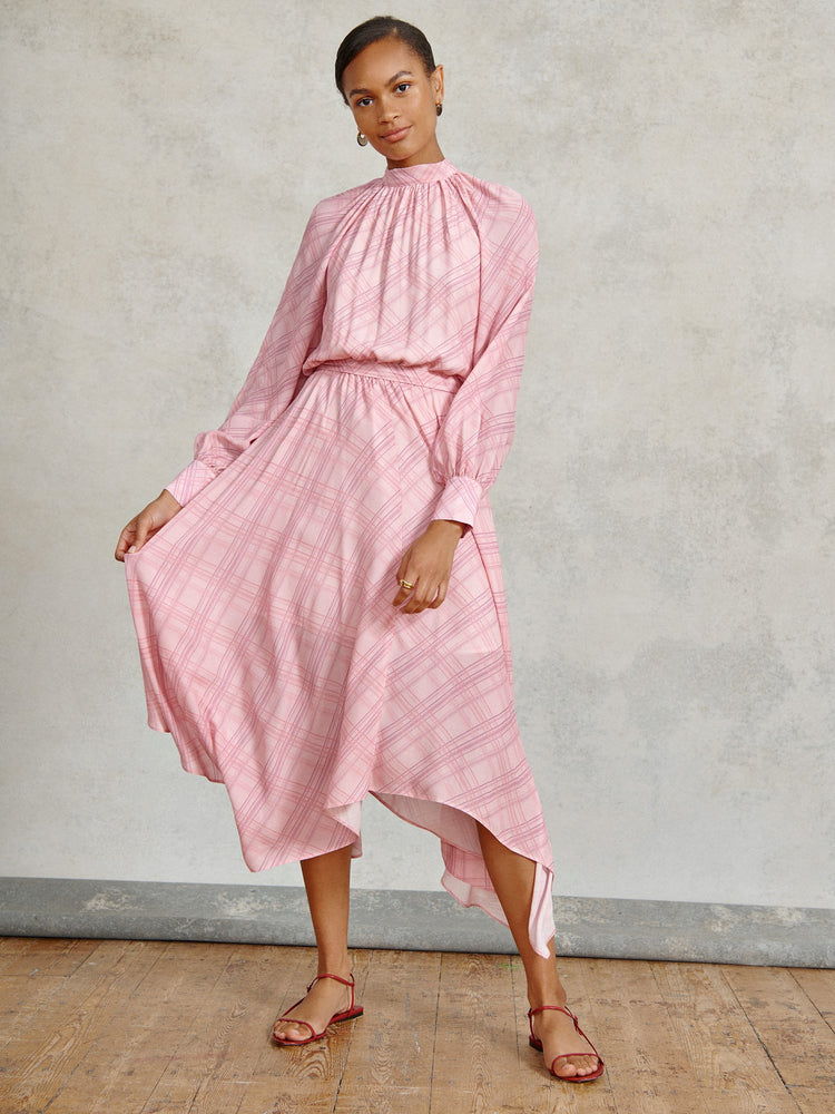 Pink Check Reversible Maxi Dress