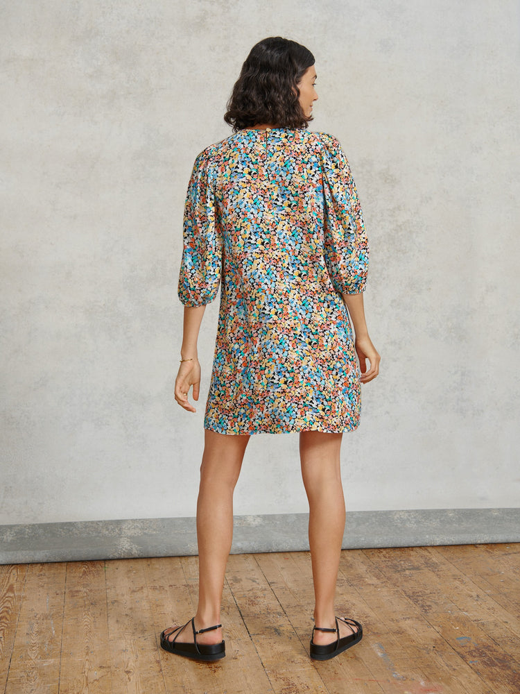Painted Floral Smock Mini Dress