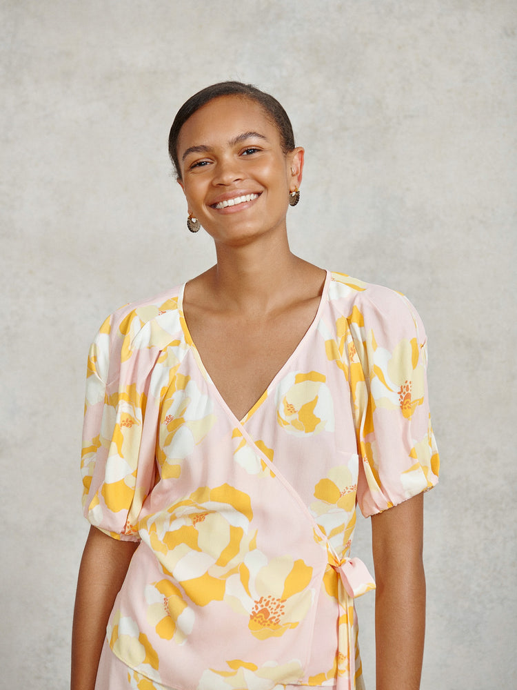 FSC Viscose Pink Graphic Floral Wrap Top