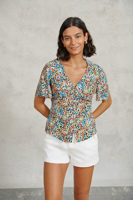 FSC Viscose Painted Floral Button-Through Print Top