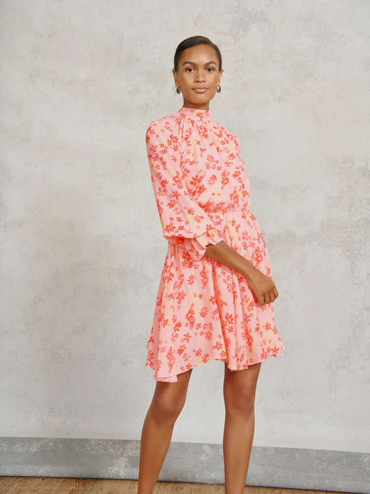 Pink Floral Print High Neck Mini Dress
