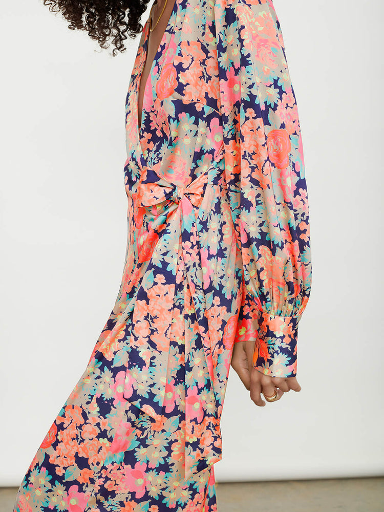 Recycled Polyester Wrap Front Wide Leg Jumpsuit in Watercolour Floral Print