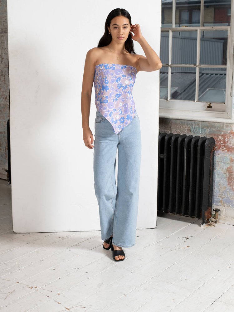 BCI Cotton Multi Way Tie Top in Smudged Floral