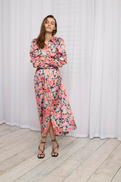 Recycled Polyester Maxi Shirt Dress with Puff Sleeves in Watercolour Floral Print