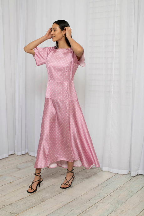 Recycled Polyester Pink OMNES Spot Print Flutter Sleeve Maxi Dress