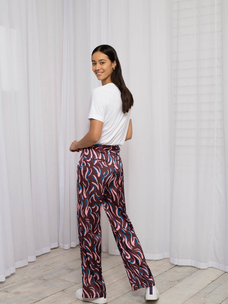Recycled Polyester Tailored Trouser with Hem Split Detail in Abstract Animal Print