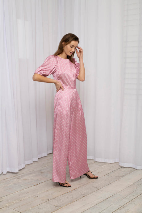 Recycled Polyester Pink OMNES Spot Print Blouson Sleeve Wide Leg Jumpsuit