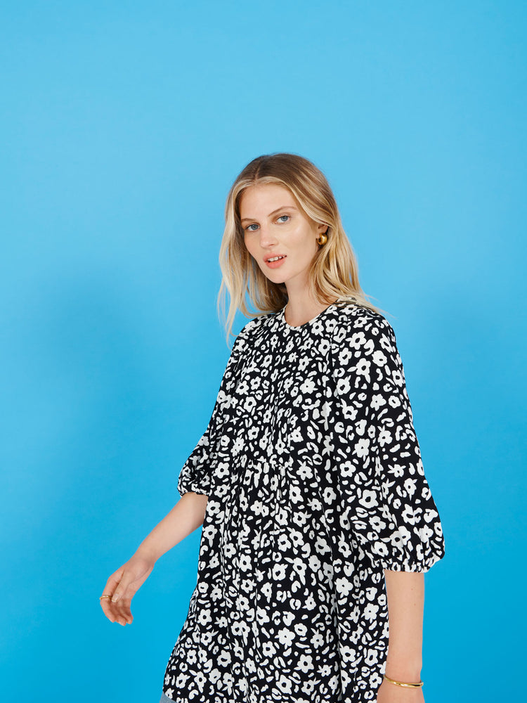 FSC Viscose Monochrome Floral Smock Mini Dress