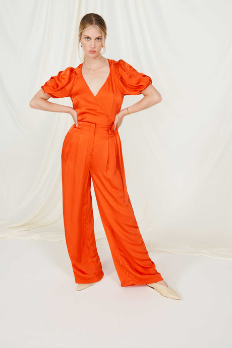Burnt Orange High Waist Wide Leg Trouser