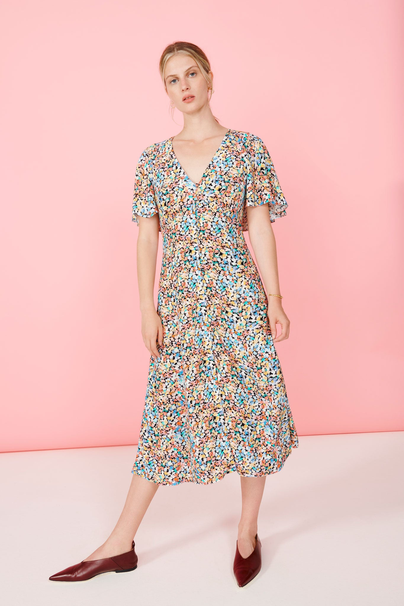 FSC Viscose Painted Floral Cape Back Midi Dress