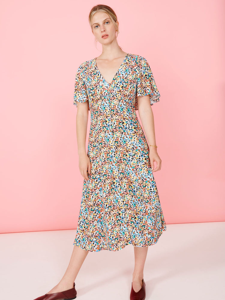 Painted Floral Cape Back Midi Dress