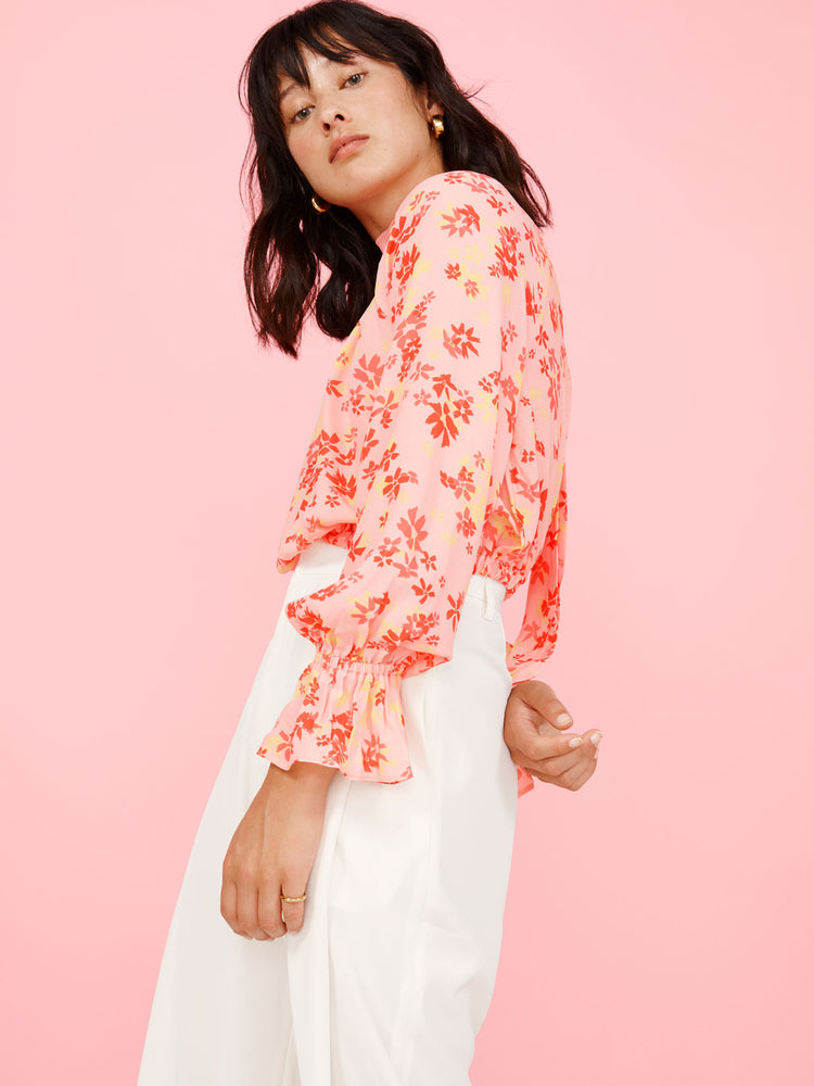Pink Floral Print High Neck Top