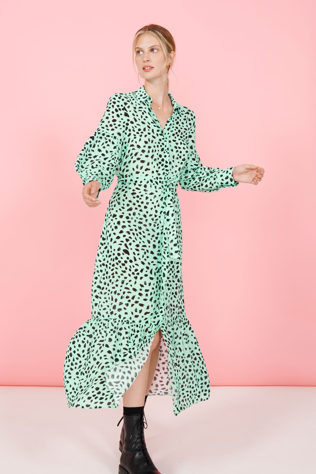FSC Viscose Animal Print Maxi Shirt Dress