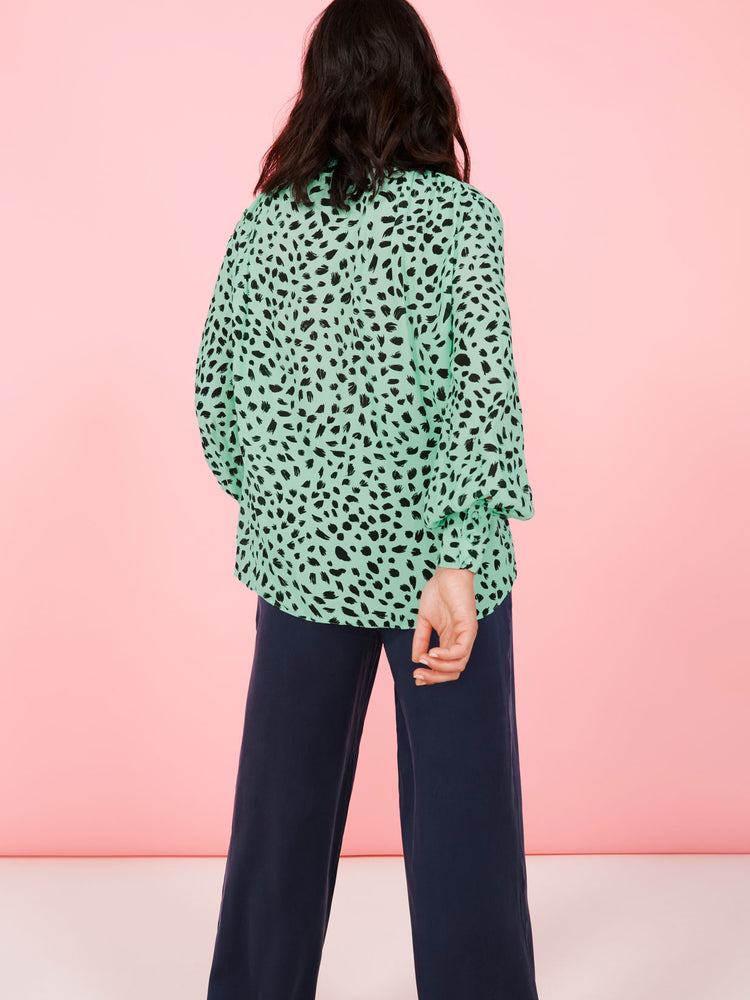 Animal Print Tie-Neck Blouse