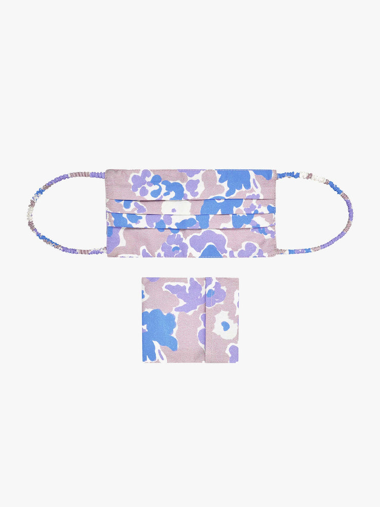 BCI Cotton Reusable Face Mask with Pouch in Purple Smudged Floral
