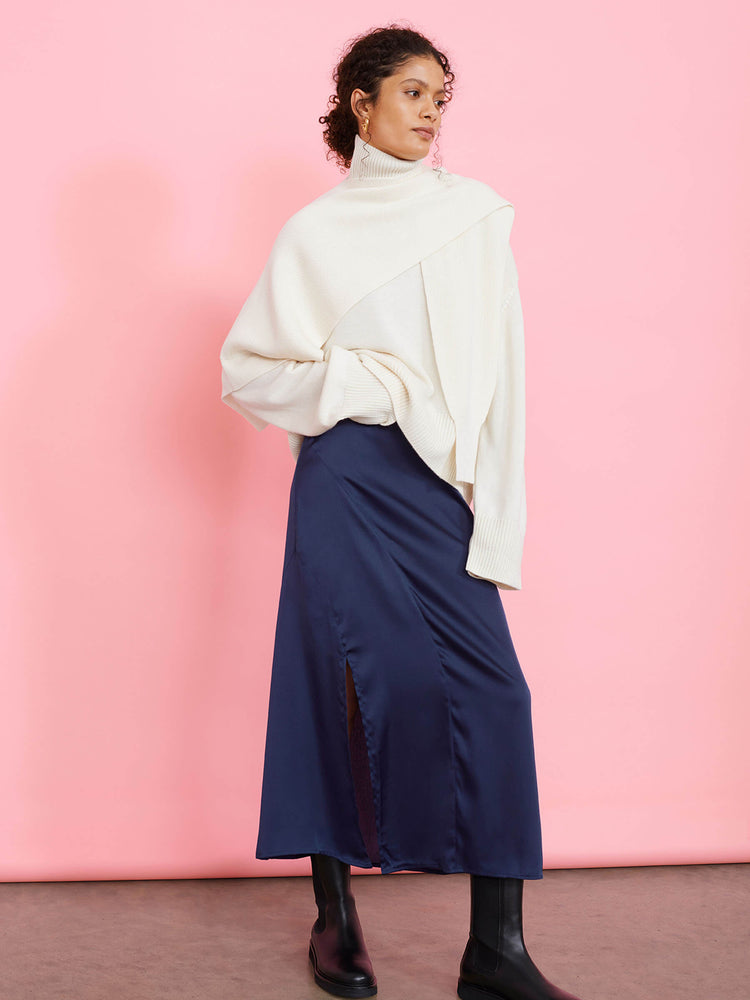 Navy Blue Bias Cut Midaxi Skirt