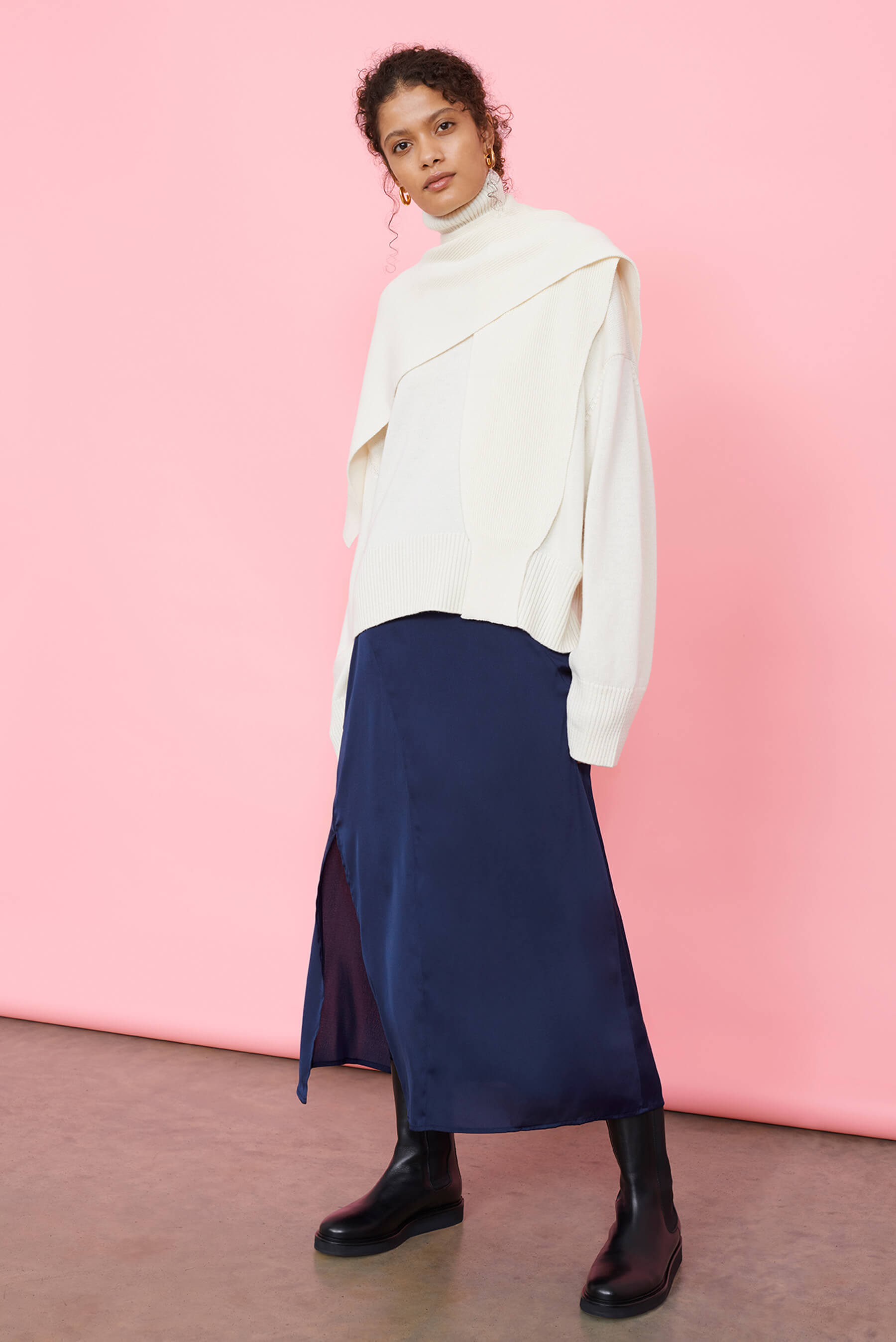 Recycled Polyester Navy Blue Bias Cut Midaxi Skirt
