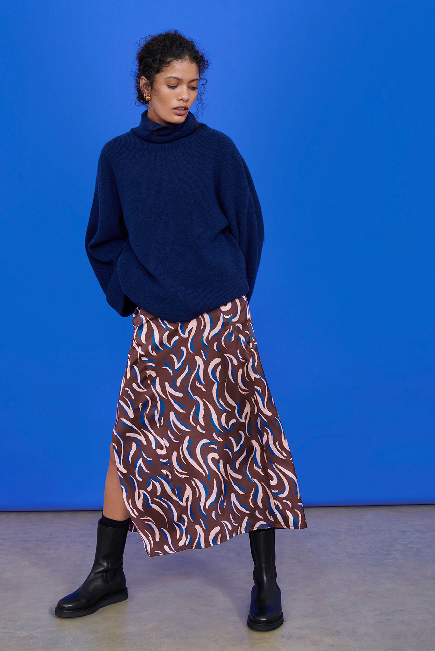 Recycled Polyester Bias Cut Midaxi Skirt in Abstract Animal Print