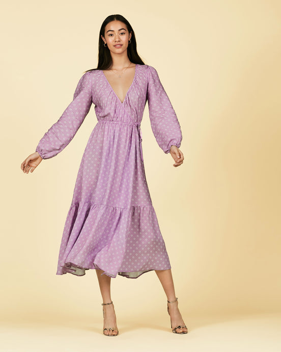 FSC Viscose Portobello Lilac Print Wrap Midi Dress
