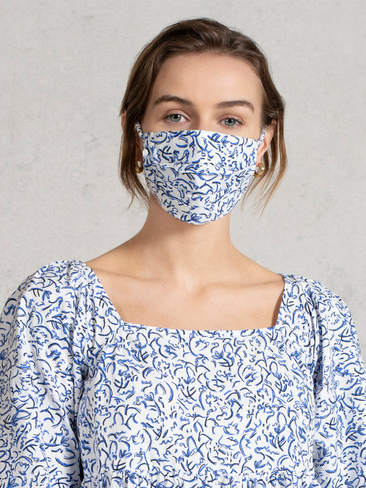BCI Cotton Reusable Face Mask with Pouch in Blue Squiggle Floral