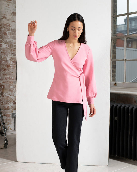 Organic Cotton Blouson Sleeve Wrap Top in Pink