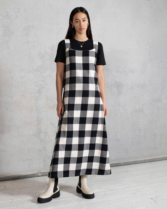 Organic Cotton Midaxi Dress with Tie Straps in Gingham Check