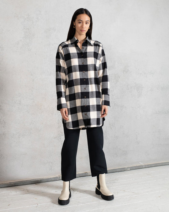 Organic Cotton Oversized Shirt with Side Splits in Gingham Check