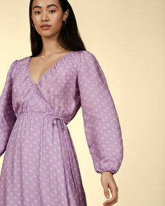 Portobello Lilac Print Wrap Midi Dress