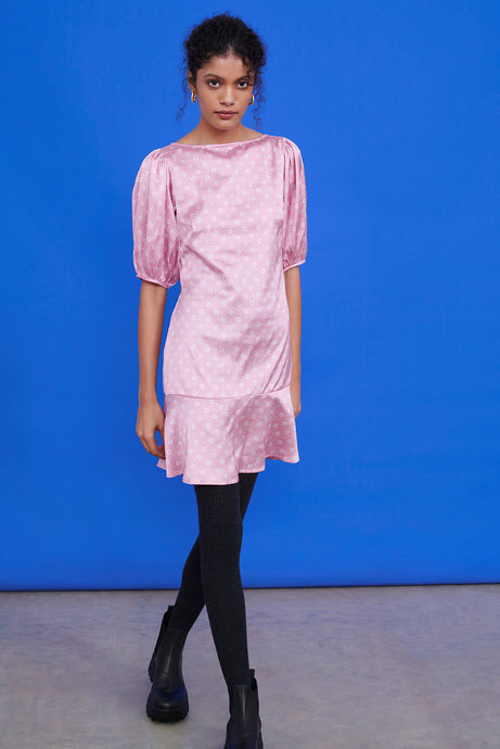 Recycled Polyester Pink OMNES Spot Print Blouson Sleeve Mini Dress
