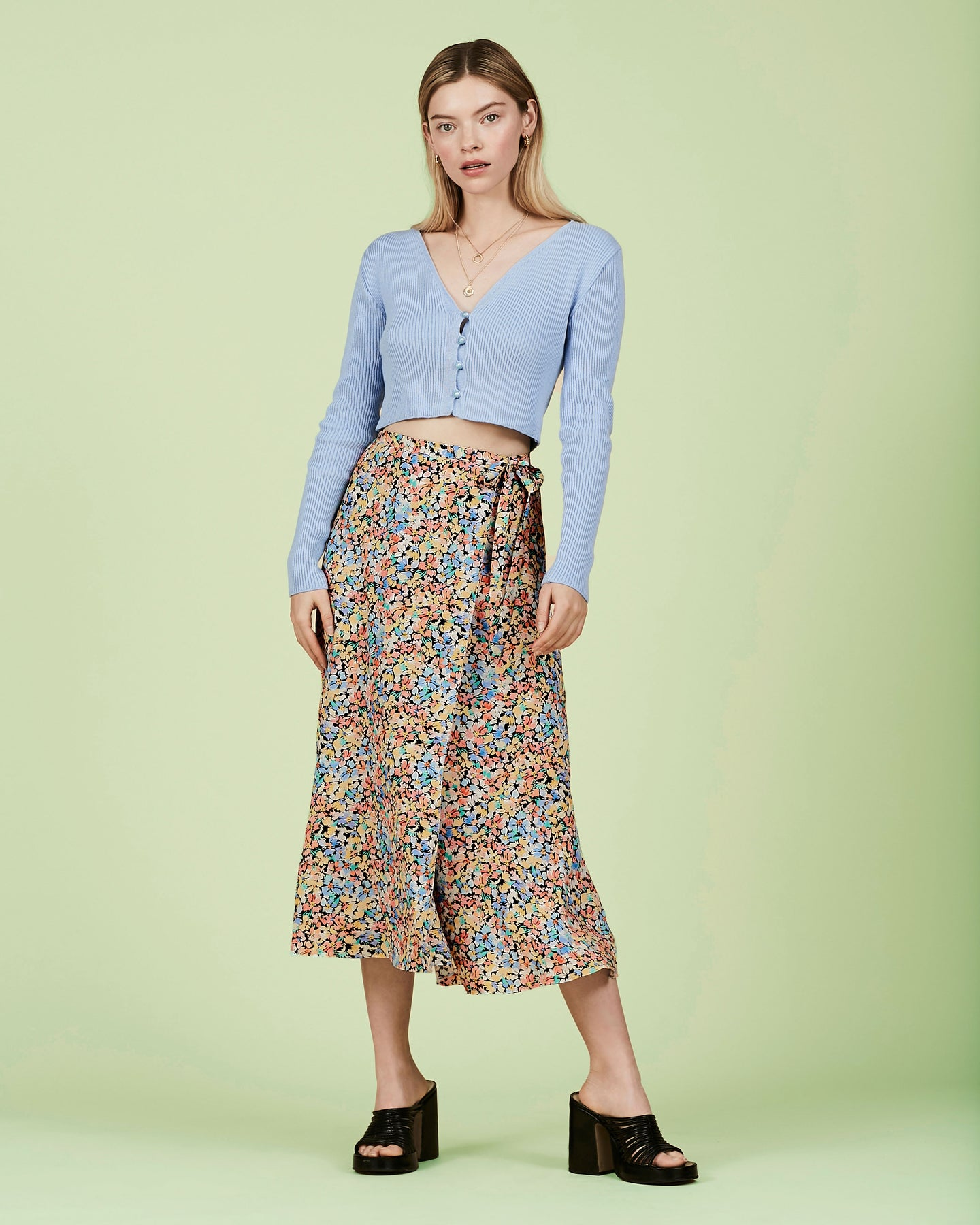 FSC Viscose Painted Floral Wrap Skirt