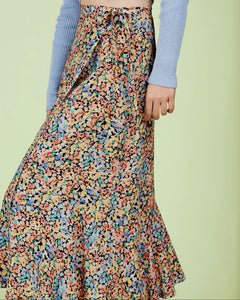 Painted Floral Wrap Skirt