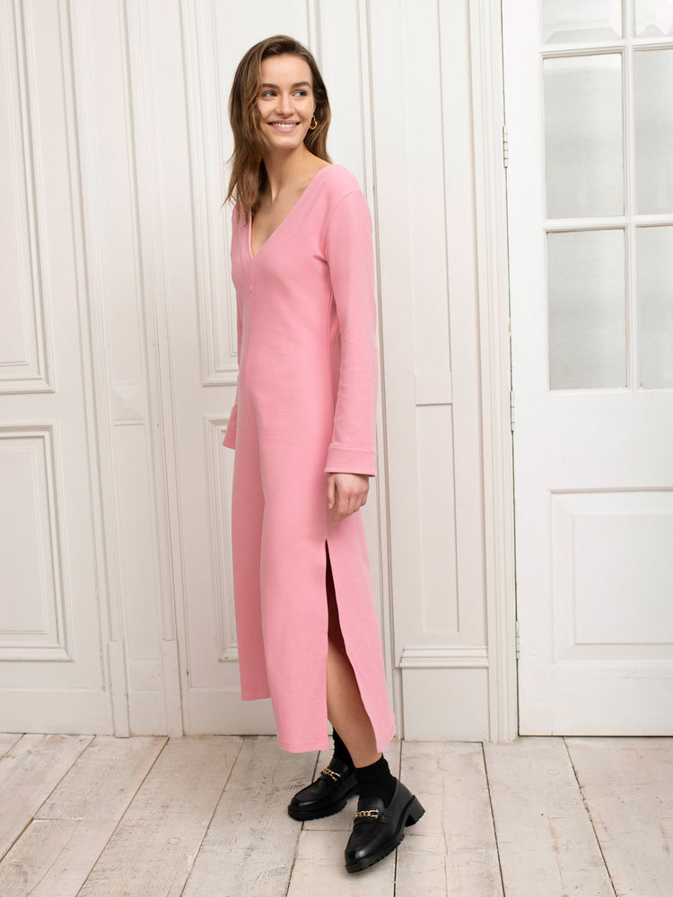Organic Cotton V Neck Midi Dress in Pink Jersey