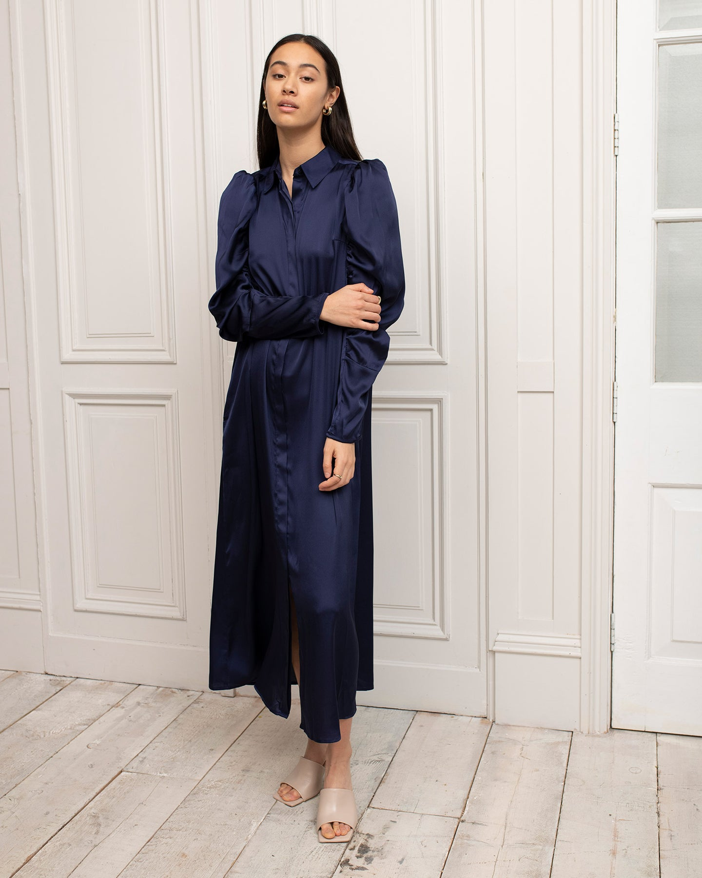 Recycled Polyester Navy Blue Maxi Shirt Dress with Puff Sleeves