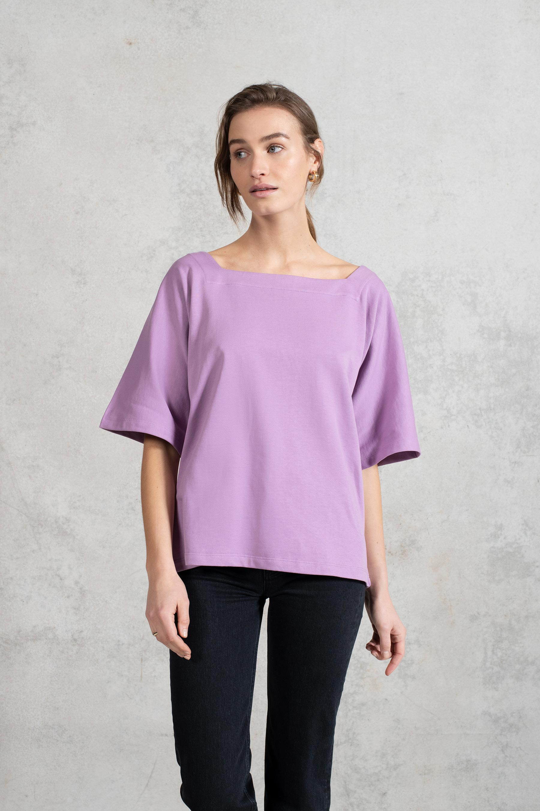 Zero Waste Long Short Sleeve Jersey Boxy Top in Lilac