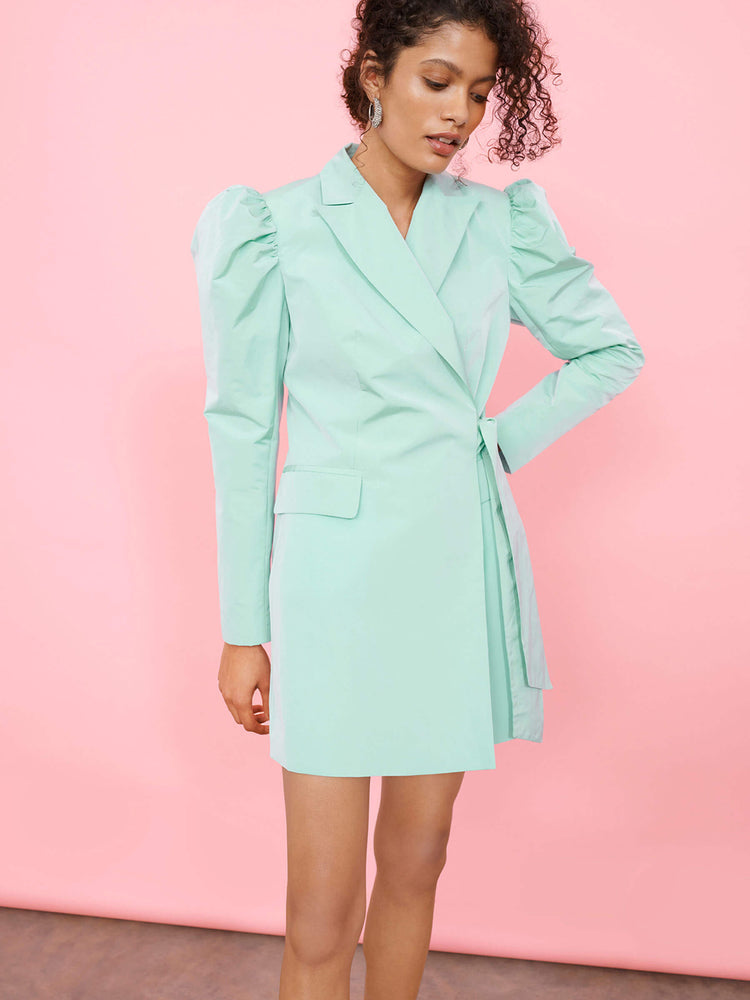 Taffeta Blazer Mini Dress with Bow Tie Waist Detail
