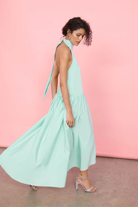 Newlife™ Recycled Taffeta Halter Drop Waist Maxi Dress with Tie Back Detail