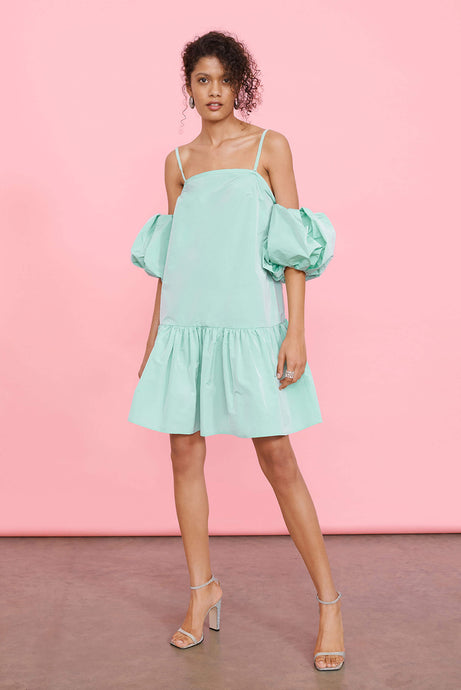 Newlife™ Recycled Taffeta Mini Smock Dress with Detachable Puff Sleeves