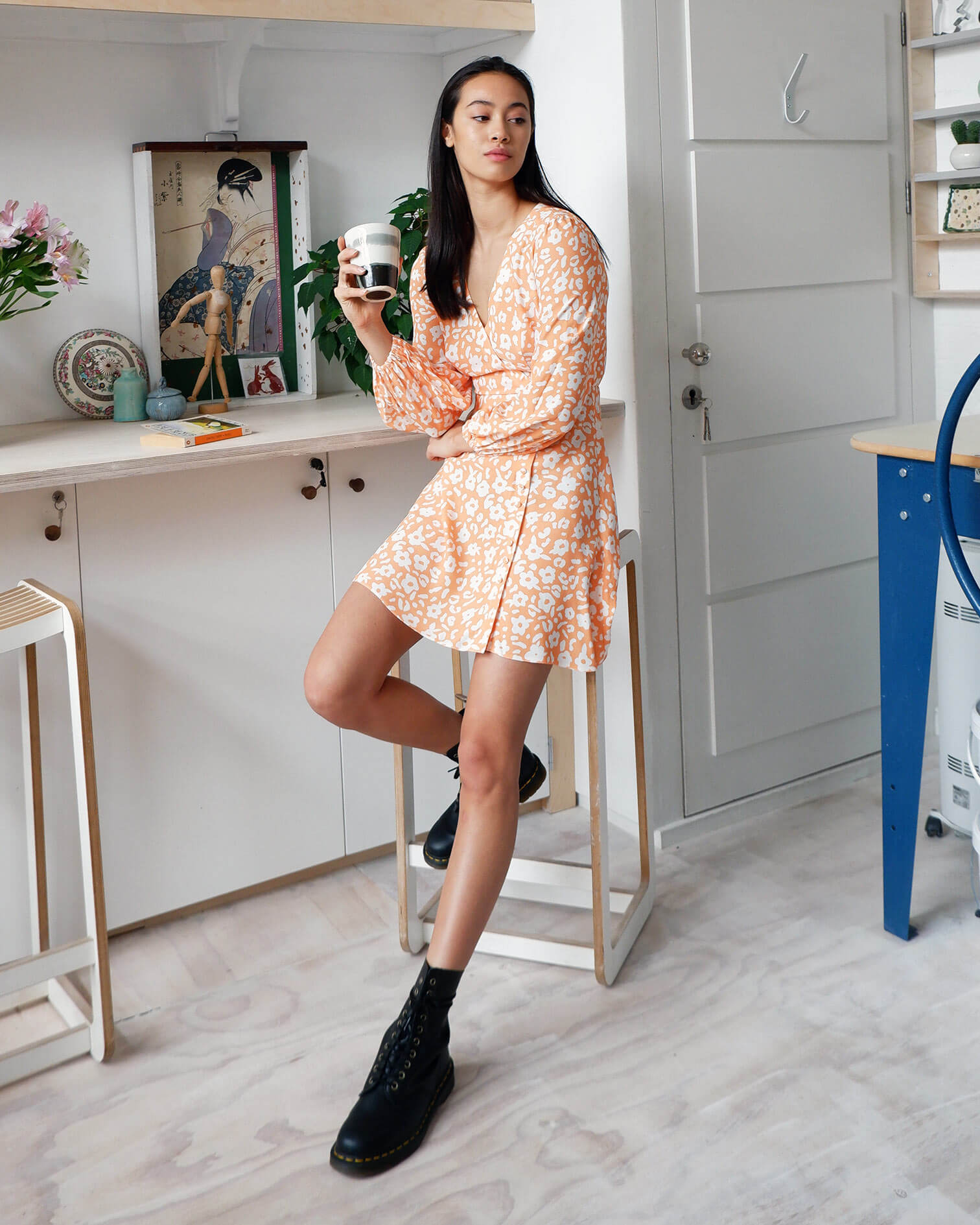 FSC Viscose Apricot Floral Print Mini Wrap Dress