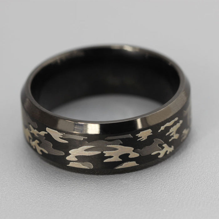 Punk three-color camouflage black ring