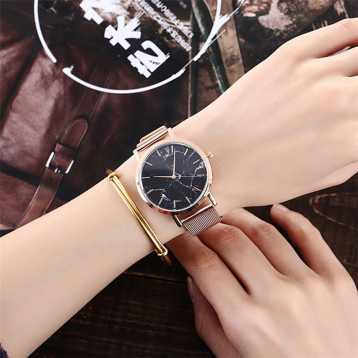 Silver And Gold Mesh Band Creative Marble Wrist Watch