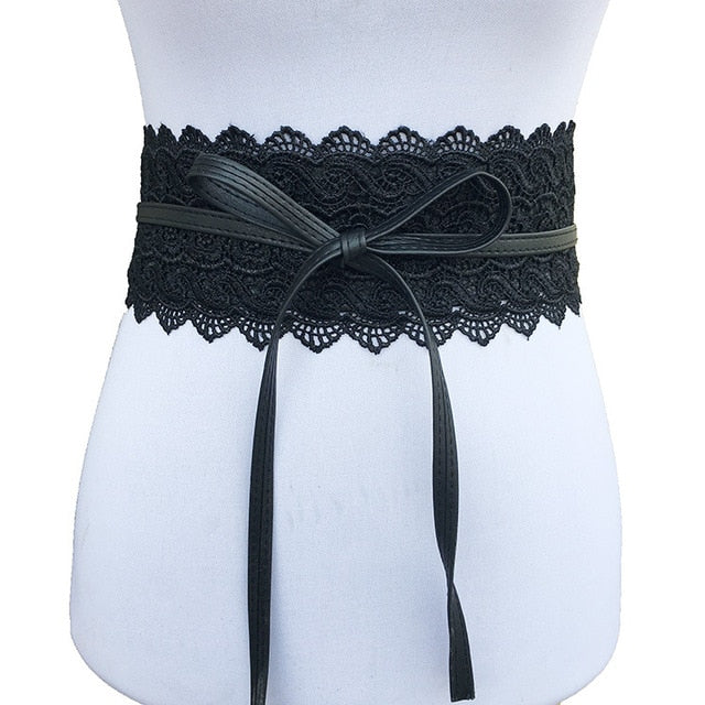 New Black White Wide Corset Lace Belt