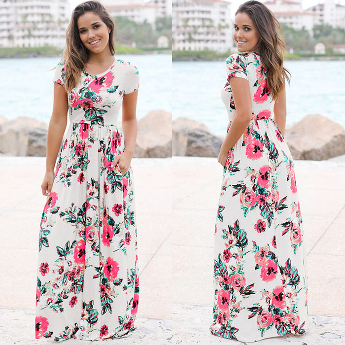 Floral Print Boho Beach Dress Short Sleeve Evening Party Dress