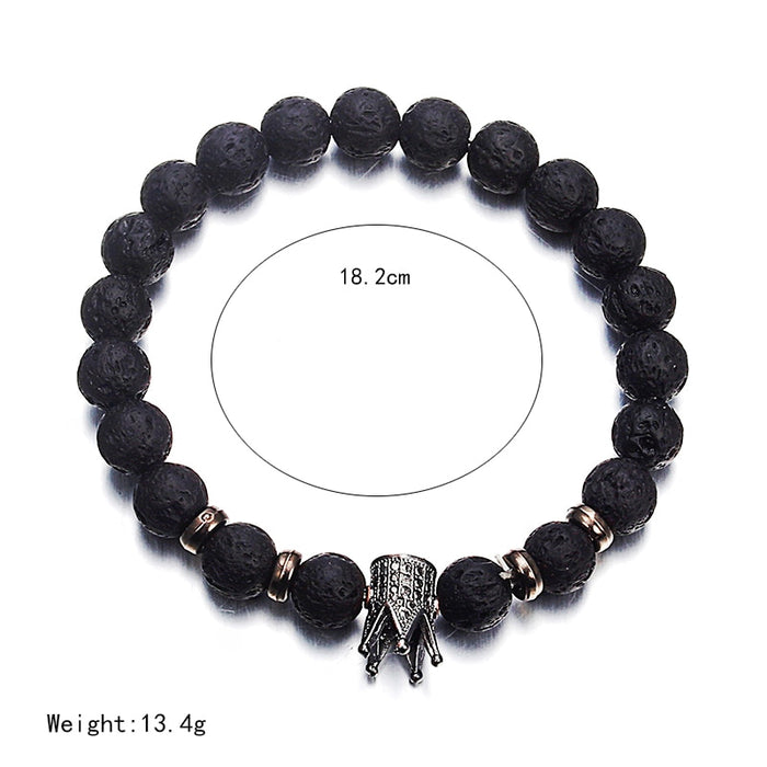 Lava Stone Pave CZ Imperial Crown And Helmet Charm Bracelet