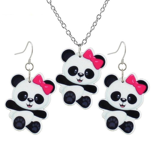 Little Panda Earring Pendant 40cm Short Chain Necklace