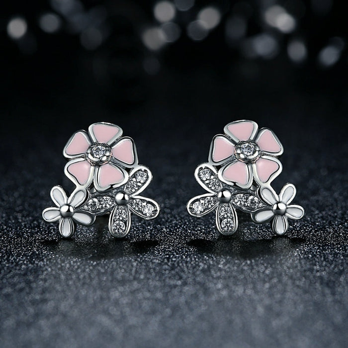 Presents Silver Color Mickey Stud Earrings