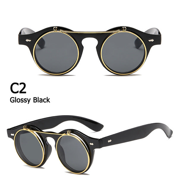 Round Steam Punk Flip Up Sunglasses