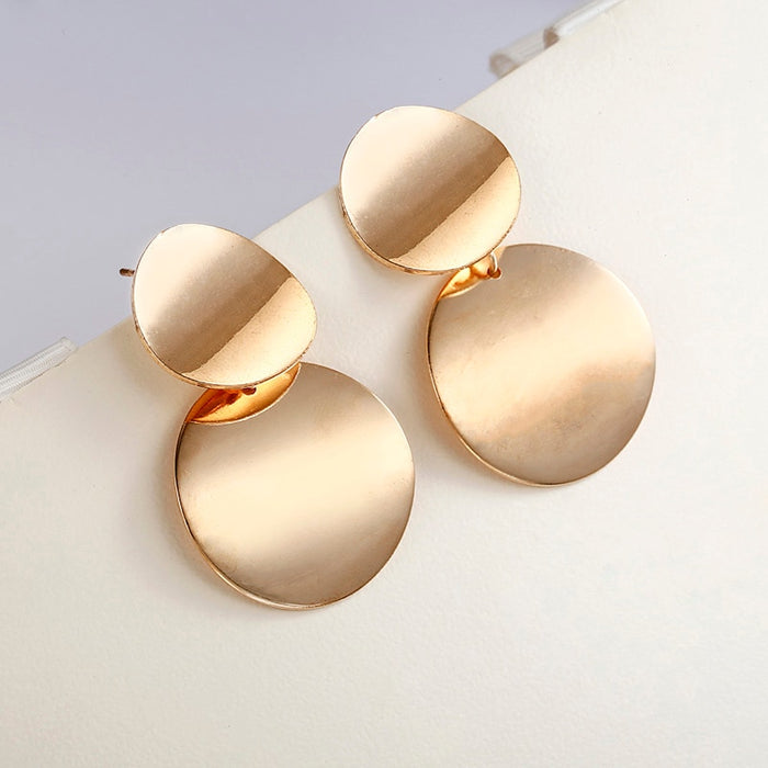 Unique Metal Drop Trendy Gold Color Round Statement Earrings