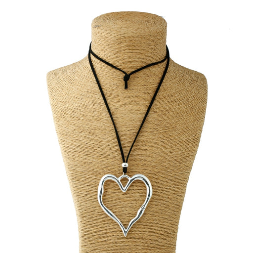 Heart Pendant Colar Suede Leather Necklace